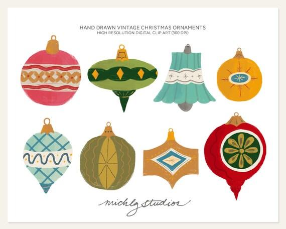 Hand drawn vintage christmas ornament digital clip art