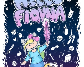 Hello Fionna Adventure Time inspired archival print, drawing/painting. Cake Hello Kitty Sanrio