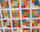 Reversible Lap or Crib Quilt, Yellow Blue Red Green White Floral