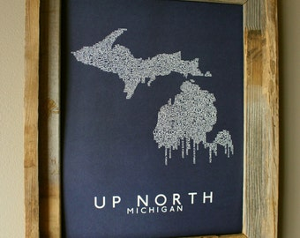 Up North (Michigan) Word Map (Dark Blue) - Unframed