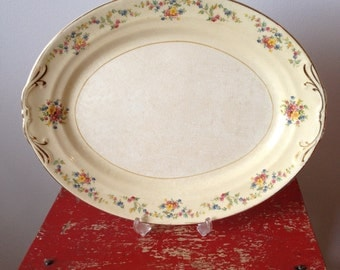 Large Vintage Crown Potteries Country Platter Sweet Floral and Leaves with Gold Trim...Thanksgiving