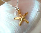 Gold and Silver Starfish Necklace with Pearl - Small