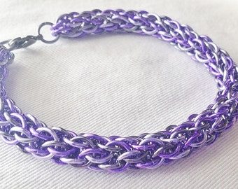 Chainmaille bracelet, purple, lavender and black ice anodized aluminum candycanecord weave