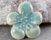 Stoneware Flower Pendant Turquoise Handmade Ceramic Art Beads Rustic