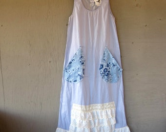 X small Romantic dress upcycled clothing vintage April Cornell frock Eco beach prairie dress farm girl shabby chic by LillieNoraDryGoods