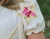 Felt Magic Wand with Initial, Princess Wand, Fairy Wand, Personalized, Flower Wand