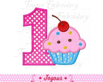 Instant Download Cupcake/Birthday cake Number 1 Applique Embroidery Design NO:1586