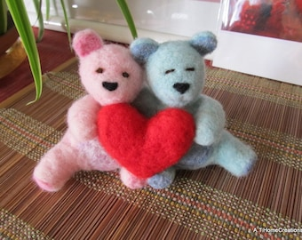 needle felted teddy bear couple valentine LOVE bears