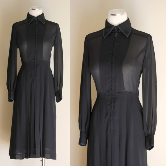 Vintage 70s Sheer Black Pleated Dress - Long Sleeve Shirtwaist Dress - Teal Topstitching - Size Medium