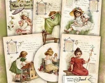 Antique Calendar - digital collage sheet - set of 6 cards - Printable Download