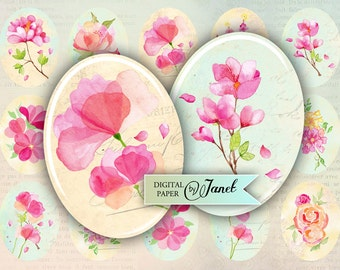 watercolor flower - oval image - 30 x 40 mm or 18 x 25 mm - digital collage sheet  - Printable Download