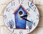 The Blue Birdhouse Wall Clock, wall clocks handmade