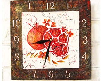 The Red Garnets Wall Clock, Modern wall clock with numbers, wood clock, white home decor, kids gift, for Office, Kitchen style.