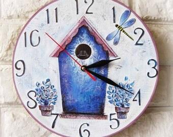 The Blue Birdhouse Wall Clock, wall clocks handmade