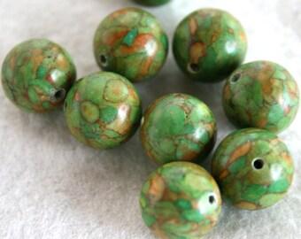 12 mm Green and Orange Mosaic Round Beads