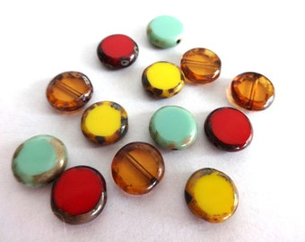 10 mm Mixed Color Picasso Coin Glass Beads