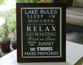 Lake Rules Framed Sign