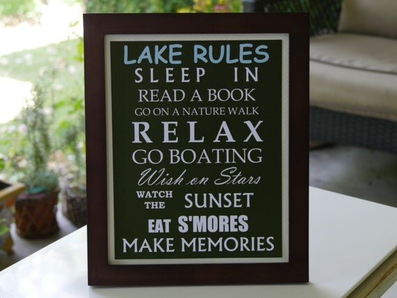 Lake Rules Framed Sign