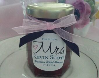 35  Mrs. Mini Jam Favors/ Personalized Label / Bachelorette Party Favor/ Bridal Shower Favors