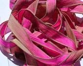 "Raspberry Tart 42"" hand dyed wrist wrap bracelet silk ribbon//Yoga wrist wrap bracelet ribbon//Silk wrist wrap ribbon//By Color Kissed Silk"
