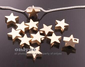 4pcs-8.5mmX8.5mmX3mmMatt Gold plated Brass beads, flat Star metal beads Charm,pendants(K676G)