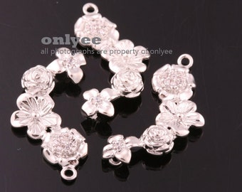 8pcs-25.5mm x12mmRhodium plated Brass Four Flowers With Zircon connectors Charms(K691S)