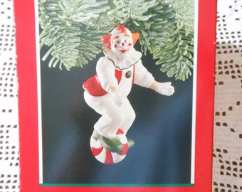 Hallmark Ornament - 1989 Peppermint Clown Hand-Painted Fine Porcelain Ornament In Original Box