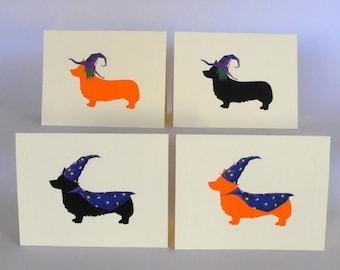 Corgi Halloween Note Cards, Witch & Wizard Corgi Cards