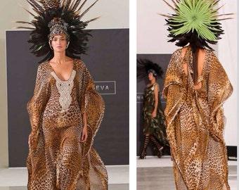 Irina Shabayeva Leopard print caftan gown