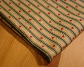 Vintage Fabric Remnant - Burlap Color Green & Red Stripes and Hearts Cotton
