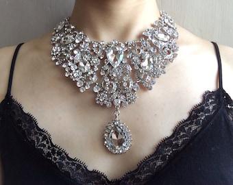 Victorian jewelry, bridal necklace, rhinestone necklace, bridal jewelry, wedding necklace, crystals necklace, Victorian necklace, teardrop