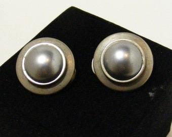 Vintage Faux Gray Pearl Clip Earrings