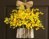 summer wreath yellow tulips forsythia wreaths front door decorations wall decor birch bark vase wreath