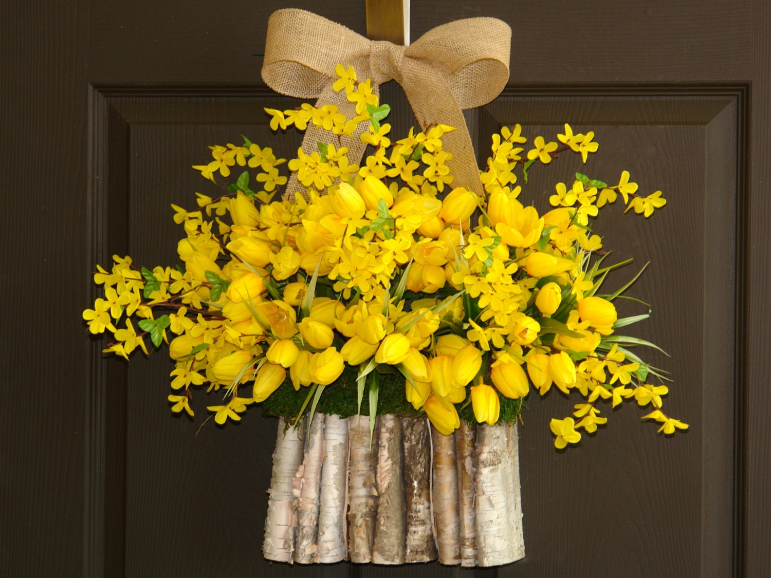 summer wreath yellow tulips forsythia wreaths front door. Black Bedroom Furniture Sets. Home Design Ideas