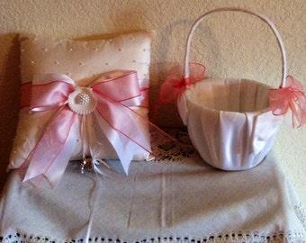 Seashells and Pearls....Beach Theme Wedding......Destination Wedding.....Flower Girl Basket.....Ring Bearer Pillow