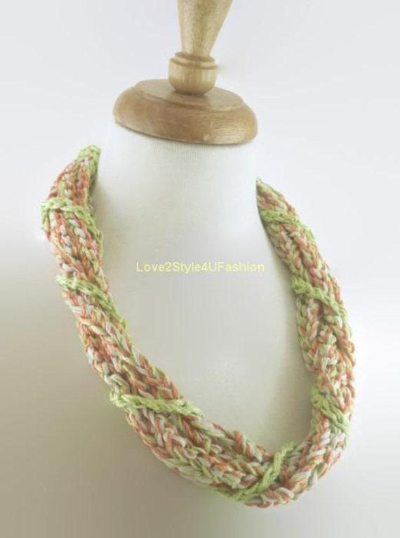 Long Statement Necklace - Hand Crochet Necklace - Handmade - Fashion Statement - Tribal Necklace - Chunky Jewelry - Fiber Art Jewelry