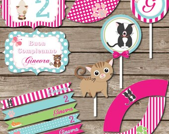 Cat Party Printable KIT - Kitty Cat party - Digital File - Printable Party