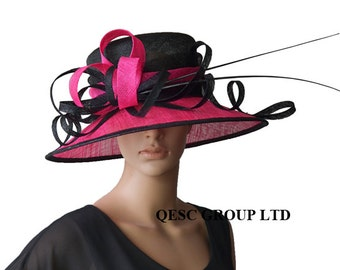 Fuchsia Hot pink/black sinamay hat large dress church hat w/sinamay twist&loop,two ostrich spines,for Kentucky derby,wedding races