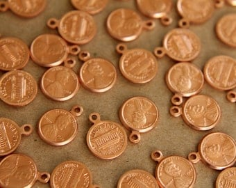 6 pc. Raw Copper Penny Charms - 18mm by 10mm - made in USA | RB-256