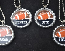 4 Personalized Football Bottlecap Necklaces,GLITTER or Plain, football gifts, football, football gift, football necklace, team gift