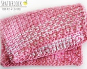 "Durable handwoven 100 percent Cotton Towel in pink plaid pattern - 10""x16"" dishcloth, tea towel, dish rag, hand towel"