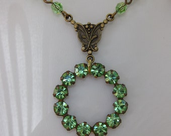 Vintage Style Swarovski Peridot Rhinestone Circle Necklace in Antiqued Brass