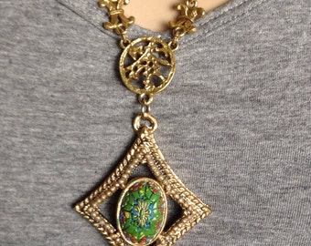 Repurposed Asian Inspired Vintage Necklace Long Ornate Gold Chain Redesigned Hand Painted Green Mosiac Pendant Chunky Statement  WishAnWear