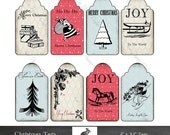 """Digital Download TriColor Christmas Tags - Digital Instant Download (8.5 """"x 11"""" Sheet)  8 (2"""" x 3.5"""" Tags) Holiday Digital Gift Tags"""