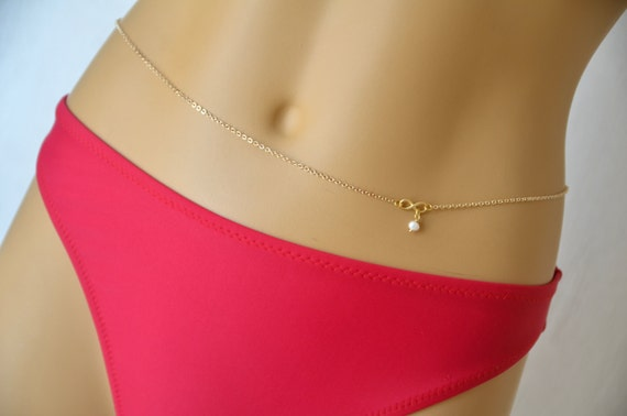 Items similar to Gold belly chain featured infinity charm ...