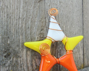 Star ornament - (white/yellow/orange-Candy Corn)