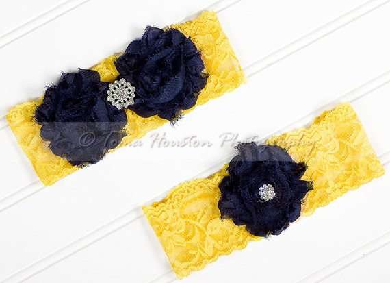 Bridal, Wedding Garter Set- Navy Blue Shabby Chiffon Flowers, Yellow Lace