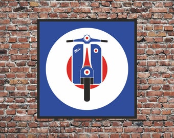 Personalised Mod Target Scooter Art Print - Custom mod symbol moped print