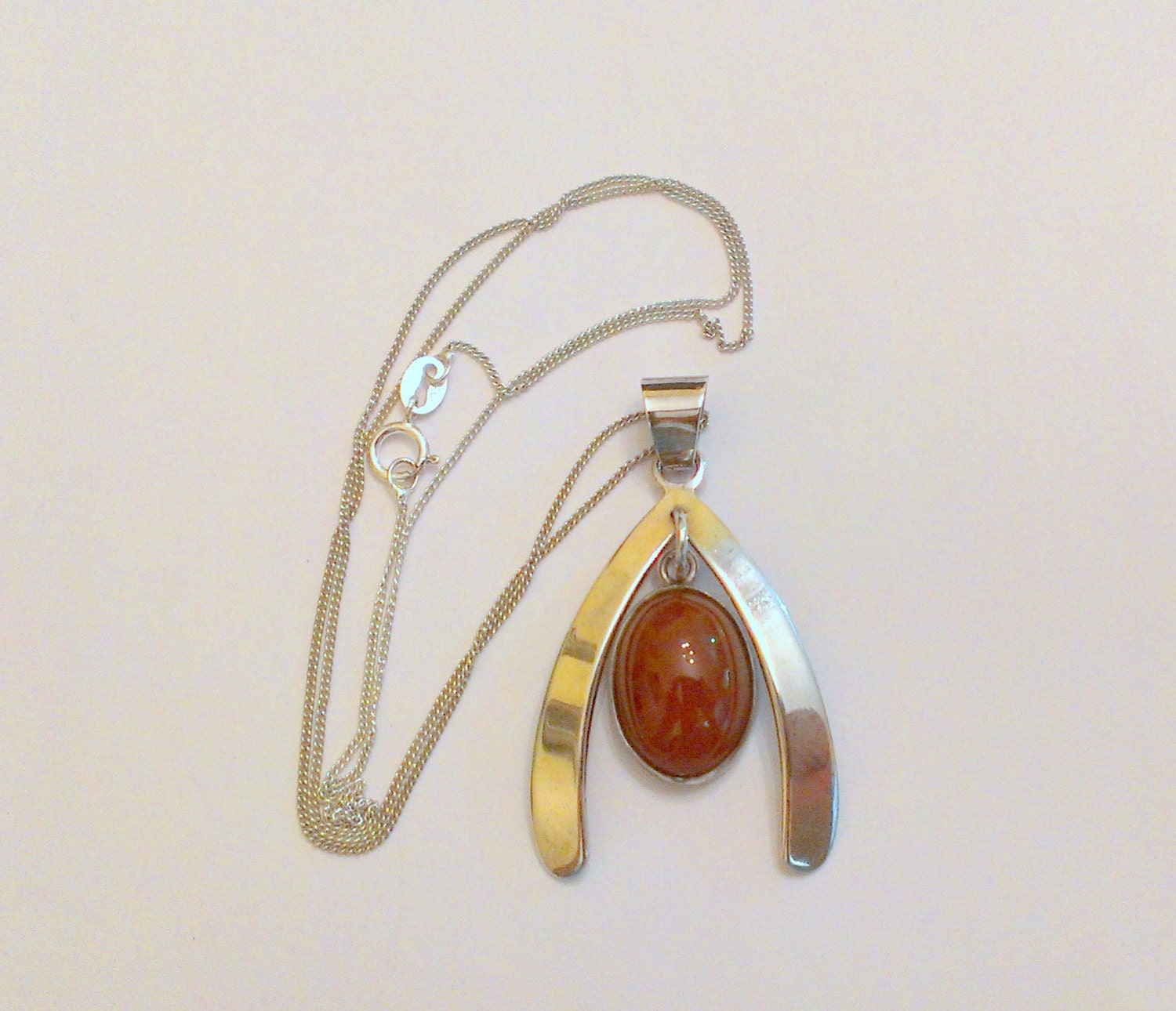 Wishbone Carnelian Sterling Silver Pendant / Necklace Israel