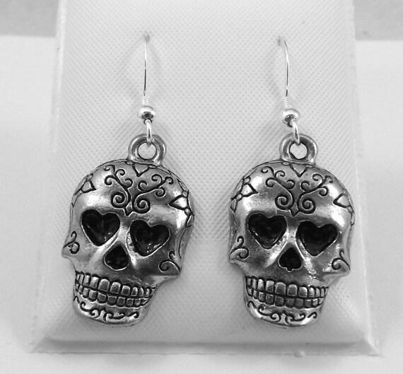 Pewter Sugar Skull Dangle Earrings On Sterling Silver French